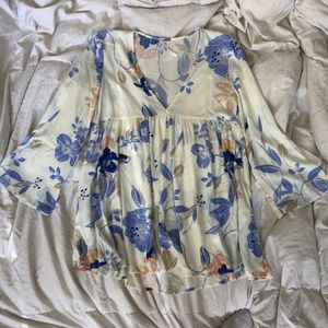 Free People white floral tunic